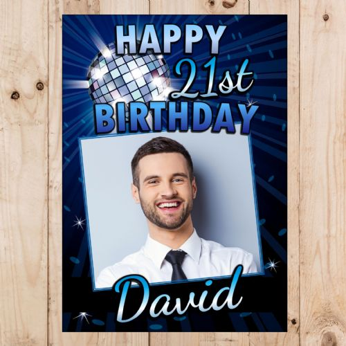 Personalised Blue Disco Glitz Happy Birthday PHOTO Poster Banner N102